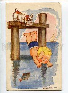 3035958 BOY Bathing Gold Fish & DOG by TILGMANN vintage PC