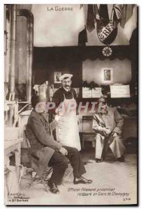 Old Postcard Militaria German officer restores Champigny station