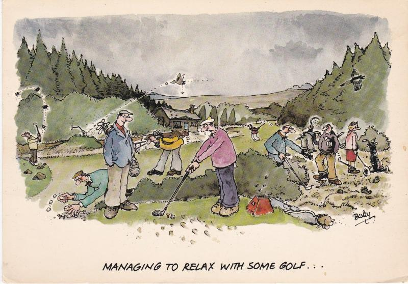Post Card Comic Golf  Managing to Relax