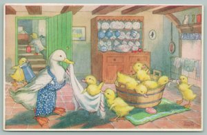 Molly Brett Fantasy~Duckling's Bath-Time~Mama Duck In Apron Holds Towel~Tub~Soap