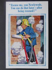 Donald McGill Postcard FIREMAN TO NEWLYWEDS - YOU CAN DO THAT LATER... c1950's
