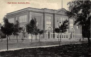Monticello Minnesota~High School Building & Grounds~Small Trees & Bicycle~c1910
