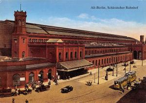 GG12741 Berlin Schlesischer Bahnhof Tram Auto Vintage Cars Train Station