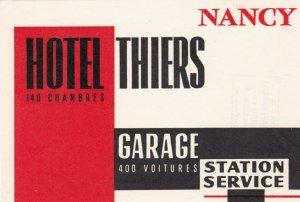 France Nancy Hotel Thiers Vintage Luggage Label sk1127