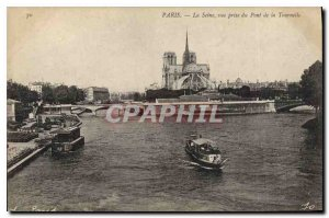 Old Postcard Paris Seine view from the Bridge Tournelle boat Peniche