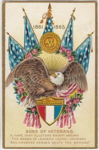 Sons of Veterans, U. S. Flags, Bald Eagle, Quote, 1900-10s