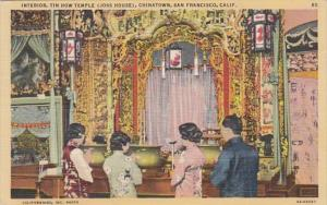 California San Francisco Chinatown Interior Tin How Temple Joss House 1944