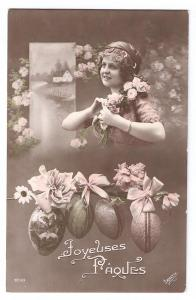 Beautiful Woman Easter Pretty Lady Irisette RPPC Real Photo