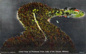 Aerial View of Duckhead Point Lake of the Ozarks MO Unused Linen Postcard