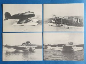 Set of 4 Vintage Sea Plane Postcards Dornier, Marchetti, Lockheed, Hidroviao 29Z