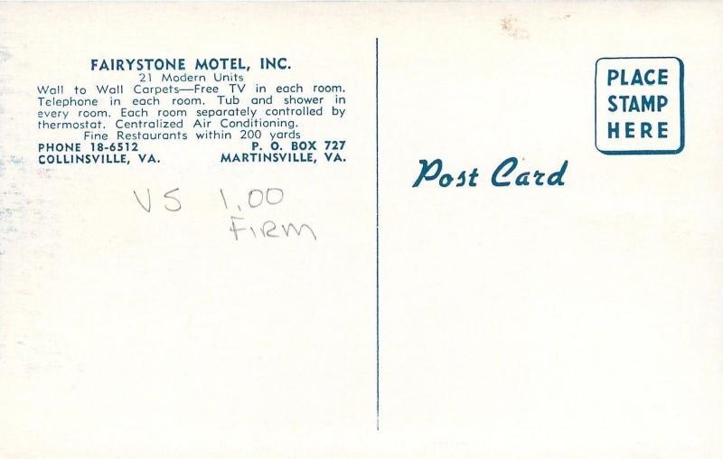 Martinsville-Collinsville Virginia~Fairystone Motel 1950s Cars