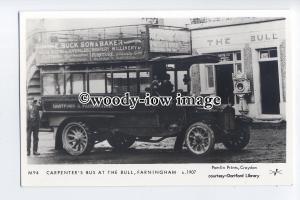 pp2276 - Carpenter's Bus at the Bull, Farningham, c1907 - Pamlin postcard