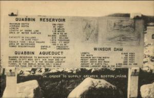 Quabbin Resevoir Sign Winsor Dam Greater Boston MA Postcard
