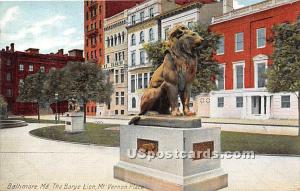 Barye Lion, Mt Vernon Place Baltimore MD 1910