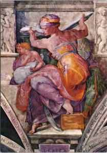 The Sistine Chapel Libyan Sibyl Citta Del Vaticano Art Repro Unused Postcard D50