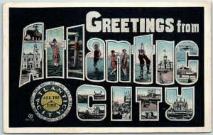 Vintage 1919 GREETINGS From ATLANTIC CITY Large Letter Postcard w/ Cancel
