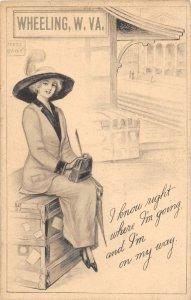 H42/ Wheeling West Virginia c1910 Pretty Woman  Railroad Depot Sign 4