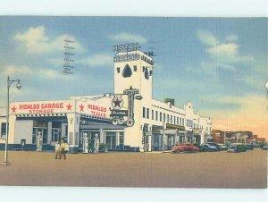 Linen TEXACO GAS STATION AT HIDALGO HOTEL Lordsburg - Near Deming NM AE1751
