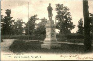 Vtg Postcard 1905 Civil War Soldiers Monument Van Wert, Ohio - Rotograph Co.