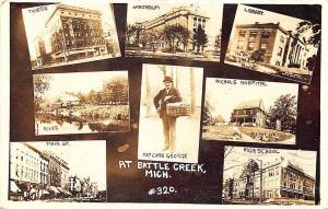 Battle Creek MI Popcorn George Multi-View Train Main Street RPPC Postcard