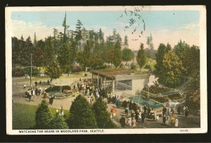 USA Postmark 1930 Seattle Wash Bears in Woodland Park Seattle Postcard