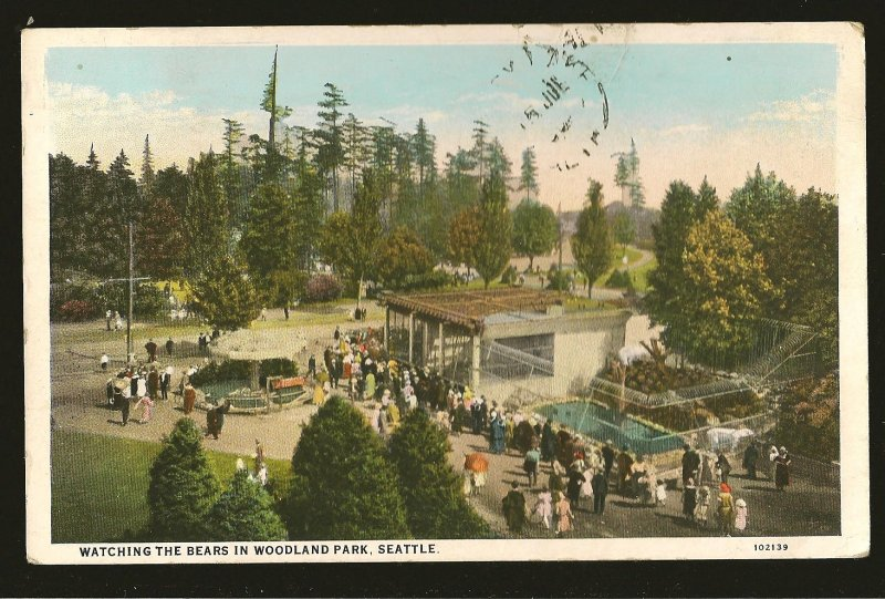 USA Postmark 1930 Seattle Wash Bears in Woodland Park Seattle Postcard