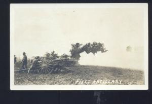 WWI WORLD WAR 1 BATTLE ACTION FIELD ARTILLARY CANNON REAL PHOTO POSTCARD