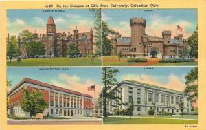 Columbus~Ohio State University Campus~Admin~Armory~Library~Hall~1938 Postcard