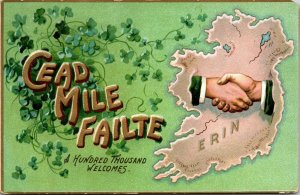 ST. PATRICK'S DAY – Erin - The Emerald Isle - Embossed Tuck Postcard