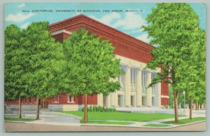 Ann Arbor Michigan~University of Michigan~Hill Auditorium~c1940 Postcard