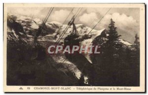 Old Postcard Chamonix Telepherique Planpraz and Mont Blanc