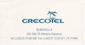 GREECE ATHENS GRECOTEL VINTAGE LUGGAGE LABEL