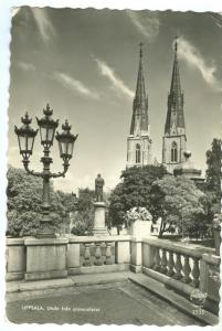 Sweden, Uppsala, Utsikt fran universitetet, 1956 used real photo Postcard