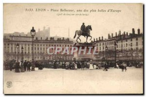 Old Postcard Lyon Bellecour one of the most beautiful in Europe