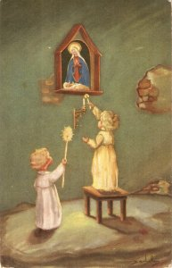Litle girl with cadles for the Virgin Nice Spanish ReligiousPostcard 19340s