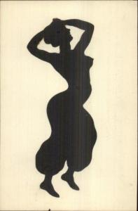 Art Deco Sexy Woman Semi Nude Silhouette Pasted on c1910 French Postcard #2