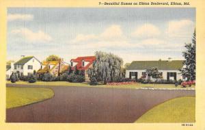 Elkton Maryland Blvd Homes Street View Antique Postcard K63462