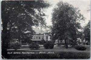 Flint, Michigan Postcard OAK GROVE SANITARIUM Hospital Building View c1910s