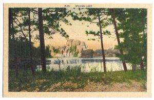 Sylvan Lake, Black Hills, South Dakota unused Rushmore Photo linen PPC