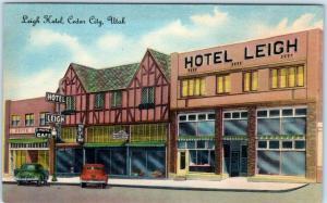CEDAR CITY, Utah  UT    Roadside LEIGH HOTEL  ca 1940s-50s Linen   Postcard