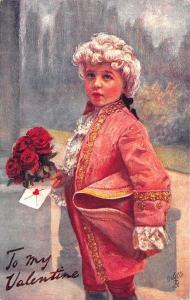 To My Valentine Flowers Young Boy Rococo Raphael Tuck #130 Postcard