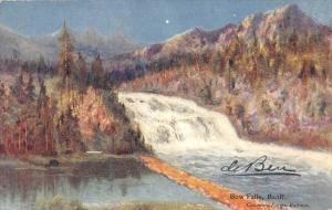 10140 Baniff  artist drawn  Bow Falls  Canadian Pacific Railway Card