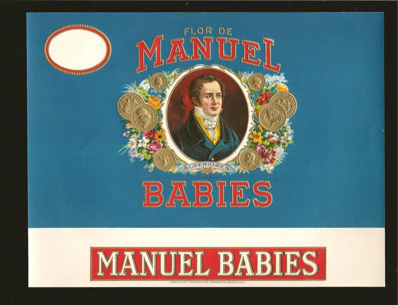 Vintage Flor de Manuel Babies Embossed Cigar Box Label 8-1/4x6-3/8 Inches