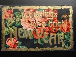 HEART GREETINGS for a bright NEW YEAR - Old Embossed Postcard