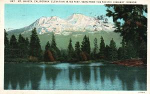 Seen from Pacific Highway, OR, Mt. Shasta, California, 1932 Postcard f6554