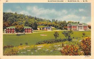 Bluefield West Virginia birds eye view Bluefield College linen antique pc Z22393