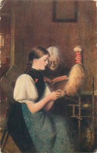 Art postcard G. Buchner - Prayer and work