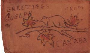 Guelph Ontario Canada Greetings Novelty Leather Antique Postcard J75032