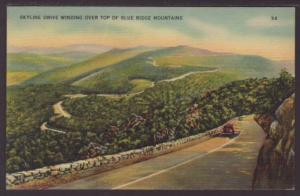 Skyline Drive Winding Top Blue Ridge Mountains Postcard