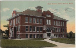 1918 THREE RIVERS Michigan Mi Postcard HIGH SCHOOL Building